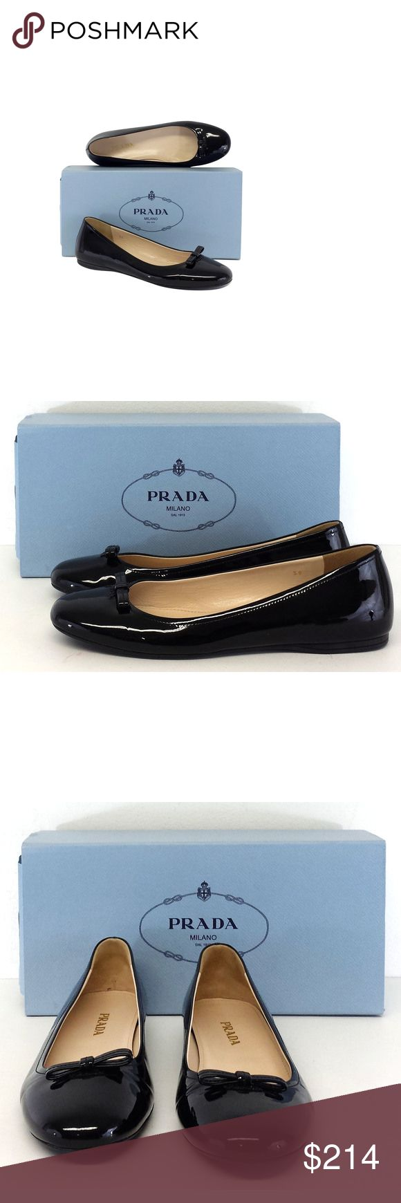 """Prada- Black Patent Leather Bow Ballerina Flats Sz 9 Size 9 (IT 39) Black Bow Ballerina Flats Rubber soles Very light wear on outsoles Patent leather upper Made in Italy Comes w/original box & dustbags Outsole Length 10.5"""" Prada is an Italian fashion label specializing in luxury goods for men and women (ready-to-wear, leather and fashion accessories, shoes, luggage, perfume etc.). Prada can be described as trendy, artful, beautiful. This brand uses the finest materials to make a woman feel…"""