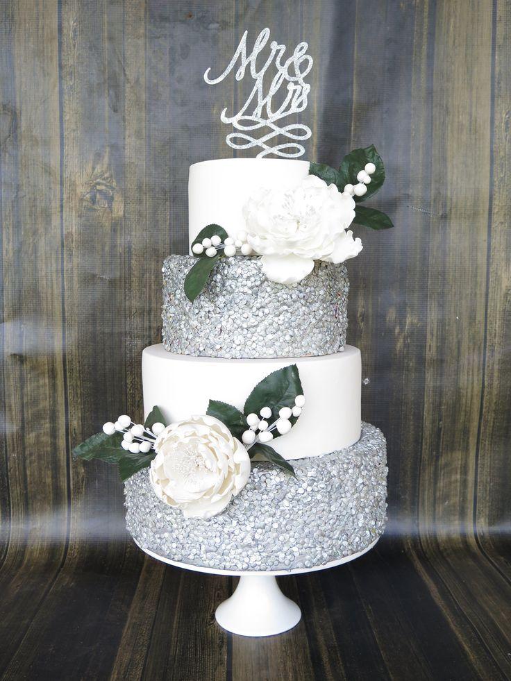 4 Tier Wedding Cake Silver Edible Confetti Sequins