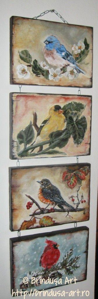 Brîndușa Art The four seasons, acrylic painting on wood... Birds... Cele patru anotimpuri, pictură pe lemn în culori acrilice. Păsări... #seasons #birds