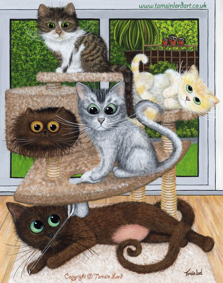 'Our Family Cat Tree' A commissioned painting by Tamsin Lord