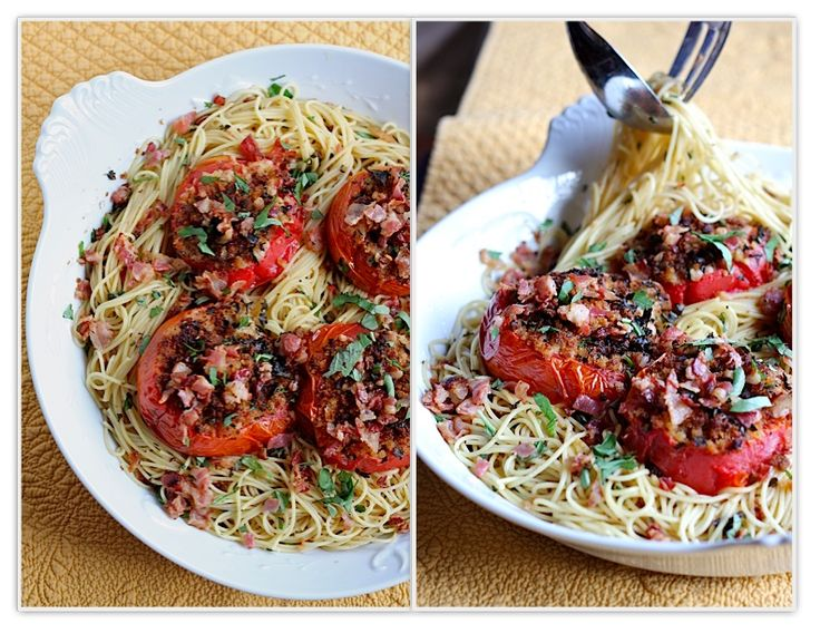 The Italian Dish - Posts - My New Favorite Dish - Spaghetti with Roasted Tomatoes, Garlic,Pancetta
