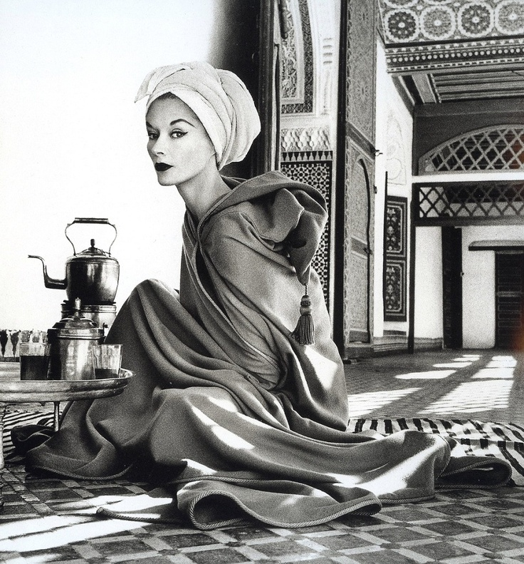 Lisa Fonssagrives photographed in La Bahia Palace in Marrakech by Irving Penn, 1951
