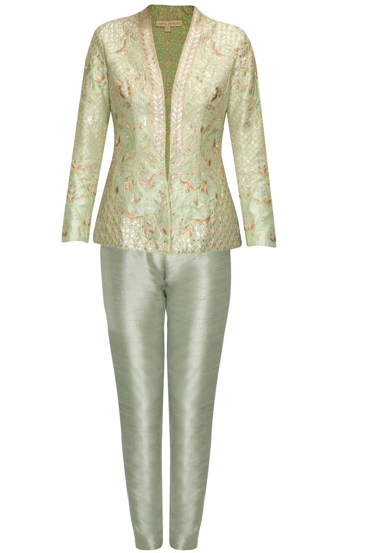 Sage green embroidered trisha jacket with green pants at Pernia's Pop Up Shop.#perniaspopupshop #shopnow #newcollection #festive #clothing #designer #anitadongre #bridal