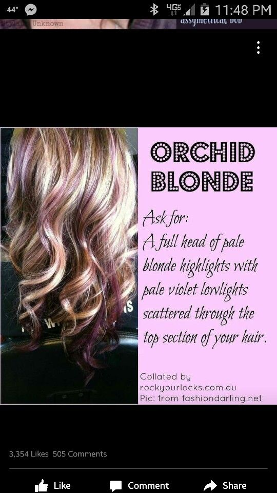 Orchid Blonde, blonde with lavender highlights