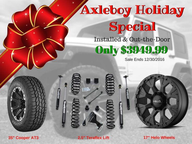 """Offer valid through 12/30/16 for 2007 & newer Jeep Wranglers.  This holiday package includes a 2.5"""" @TeraFlex lift, 35"""" Cooper AT3 tires and 17"""" Helo wheels.  Call 636-939-5337. _____________________________________________________ #Axleboy #offroad #Jeep #wrangler #suspension #lift #teraflex @coopertires #jeepshop #wheels #helo #jeeplife #jeepbeef #4x4 #4wd #jeepthing #olllllllo"""