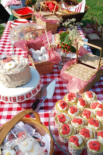 A picnic basket theme was used, along with red and white checkered