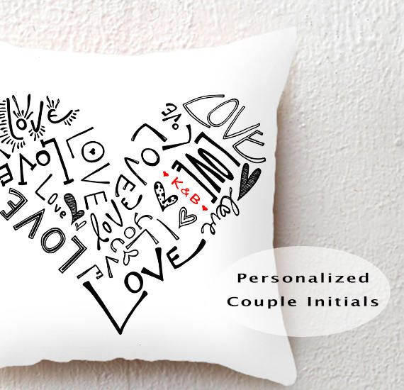 Personalized Couple Initials 18x18 Throw Pillow Love Heart, custom cushion cover bridal shower wedding gift, anniversary gift for girlfriend by SimpleSerene2 on Etsy