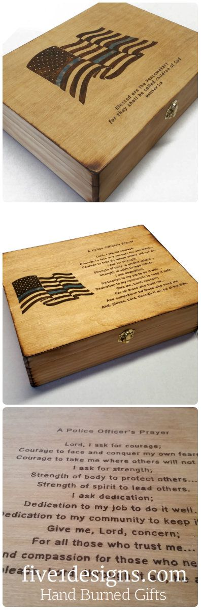 Hand burned gifts for law enforcement & police officers. Makes for a great graduation gift from the academy. These police officer gifts have the American flag with a thin blue line burned into the wood box making them unique gifts. #lawenforcement #policeofficer #thinblueline