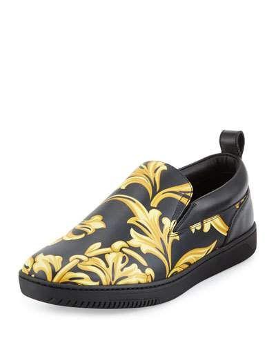 Versace+Barocco+Men's+Leather+Skate+Shoes+Black+Gold+|+Footwear