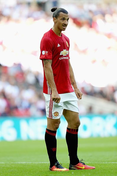 Zlatan Ibrahimovic of Manchester United in action during The FA Community Shield match between Leicester City and…