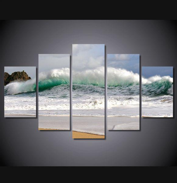 5 Pieces Multi Panel Modern Home Decor Framed Beach Wave Wall Canvas Art