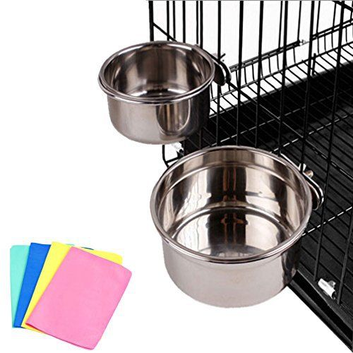Stainless Steel Cage Coop Cup Bolt Clamp Hanger Bird Cat Dog Puppy Crate Bowl With Towel (Large) - http://www.thepuppy.org/stainless-steel-cage-coop-cup-bolt-clamp-hanger-bird-cat-dog-puppy-crate-bowl-with-towel-large/