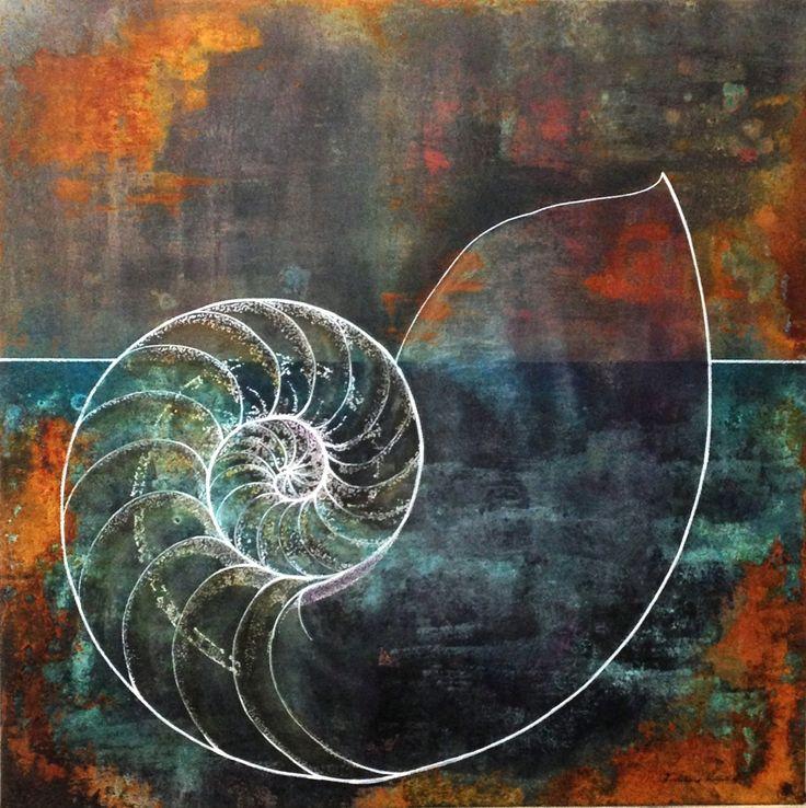"""""""Nautilus"""" mischtechnik, leinwand 80x80                                                                   bernhard kaeser 2013 Acryl auf Leinwand, Kunst, malerei, Leinwand, painting, Mischtechnik, Rost, Nautilus"""
