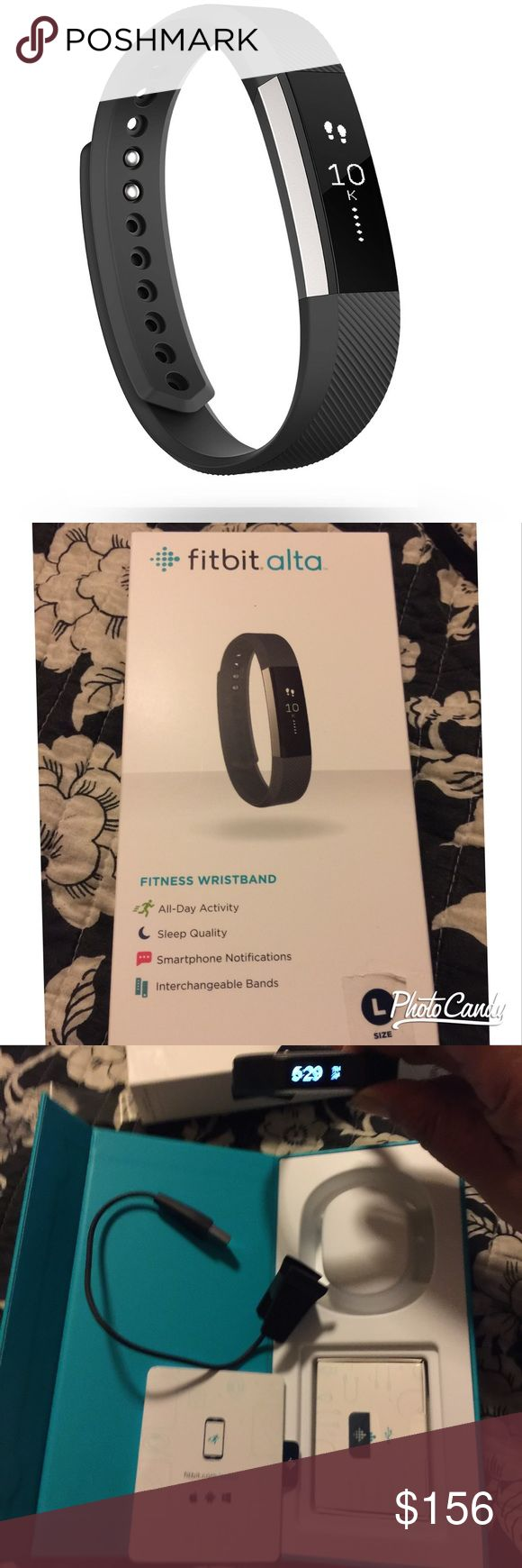 NWOT Fitbit Alta with black band I have had this Alta for 1 week and I have decided to go with an Apple Watch. This is in perfect condition. Price is set to sell and is a set price based on how much I will receive after PM fees compared to how much. Allows tracking of all-day activity like steps, distance, calories burned and active minutes, and get credit for your workouts with SmartTrack automatic exercise recognition. Tracks sleep, set a silent alarm, time, and call or text. Fitbit…