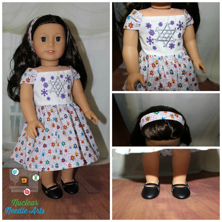 """American Made Embroidered Hanukkah Dress for your 18"""" Girl Doll by NuclearNeedleArts on Etsy"""