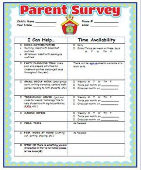 Parent Involvement Survey And Certificate