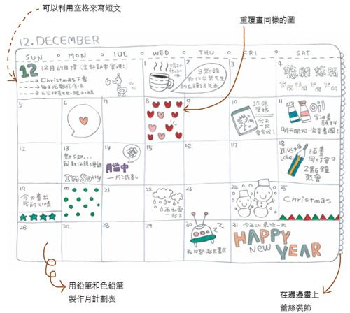 How to create your own calendar doodles part 2.     It's sooo cute!!  kawaii!    Artist:  http://blog.naver.com/yunmi30332