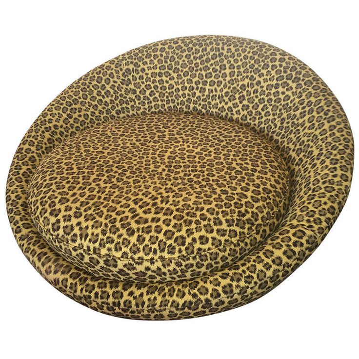 vintage round leopard sofa from a unique collection of antique and
