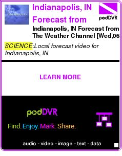 #SCIENCE #PODCAST  Indianapolis, IN Forecast from The Weather Channel    Indianapolis, IN Forecast from The Weather Channel [Wed,06 Apr 2011 04:04:05 EDT]    LISTEN...  http://podDVR.COM/?c=c3925d1e-fc32-2469-a36c-246f22a6807c