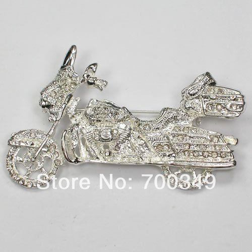 Посеребрение 12 piece/lot прозрачный кристалл горный хрусталь мотоцикл броши булавка брошь ювелирные изделия подарок C082 макияж-1