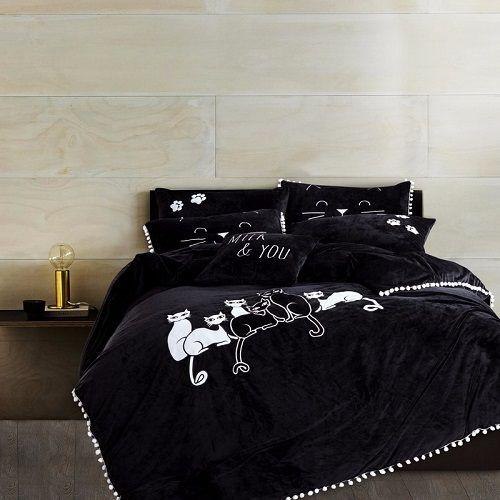 Thick Fleece White Black Color Cats Applique bedding sets Queen King size Winter Warm Bed sheet set Duvet cover Pillow shams #Affiliate