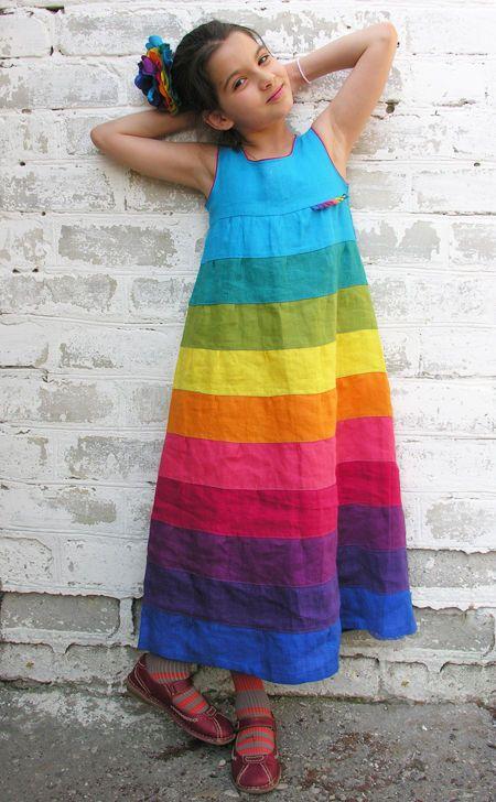 Купить Платье-сарафан из льна - платье, одежда из льна, платье из льна, сарафан для девочки, радуга