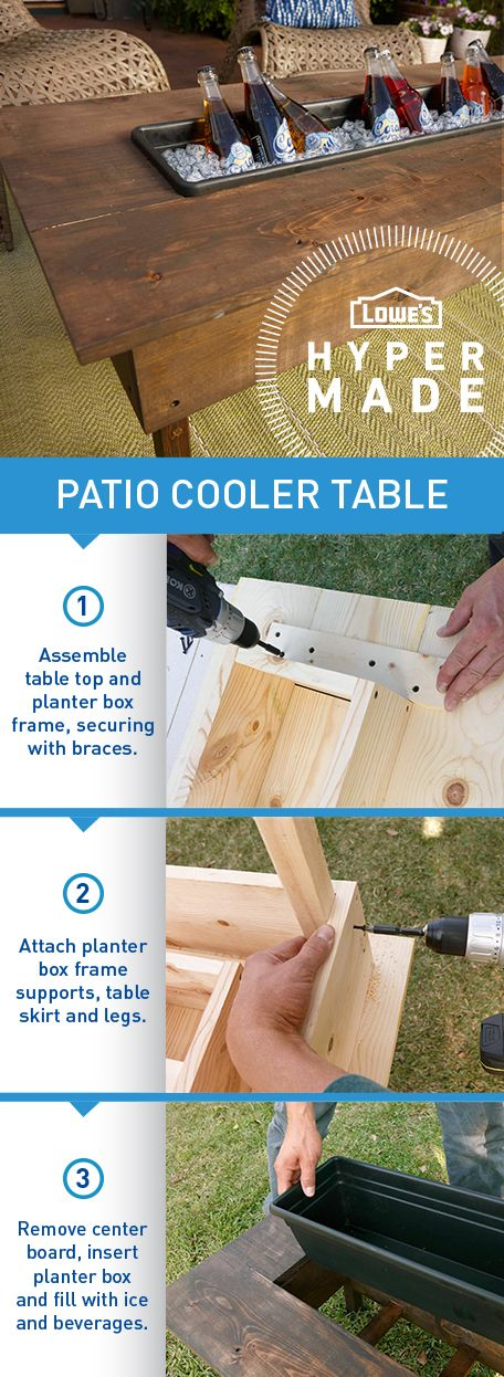 Keep ice cold refreshments within arm's reach in this DIY patio cooler table.