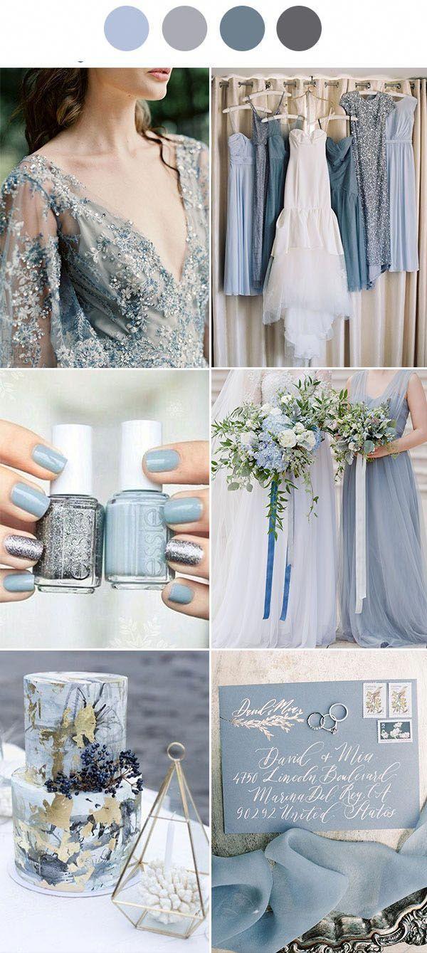 Silver Gray Dusty Blue Wedding Color Decoration Ideas Wedding