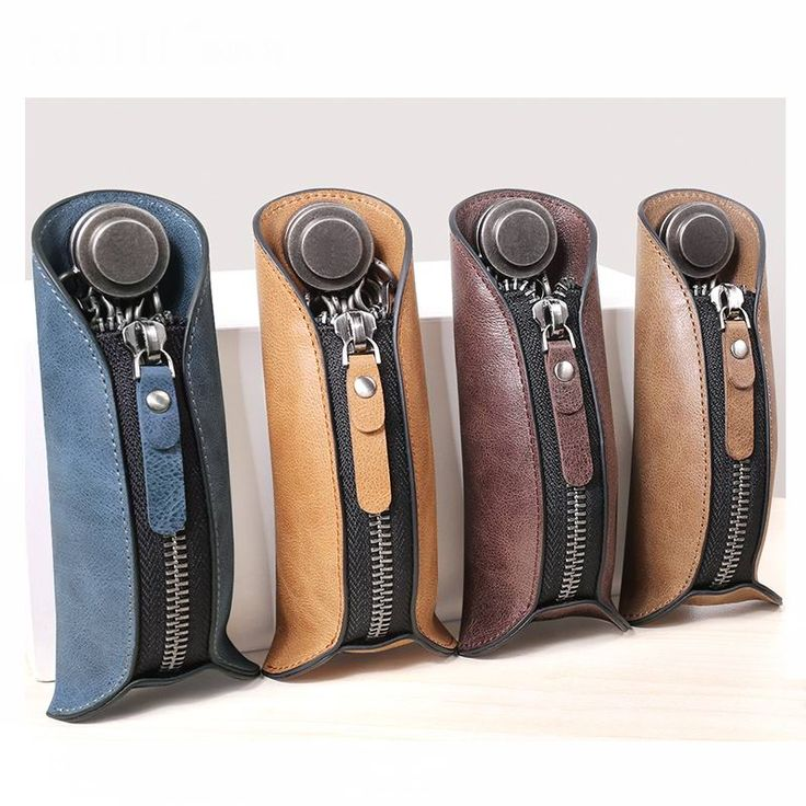 100%Genuine Leather Men Zipper Key Holder Bag Housekeeper Keys Organizer Women Keychain Covers Zipper Key Case Bag