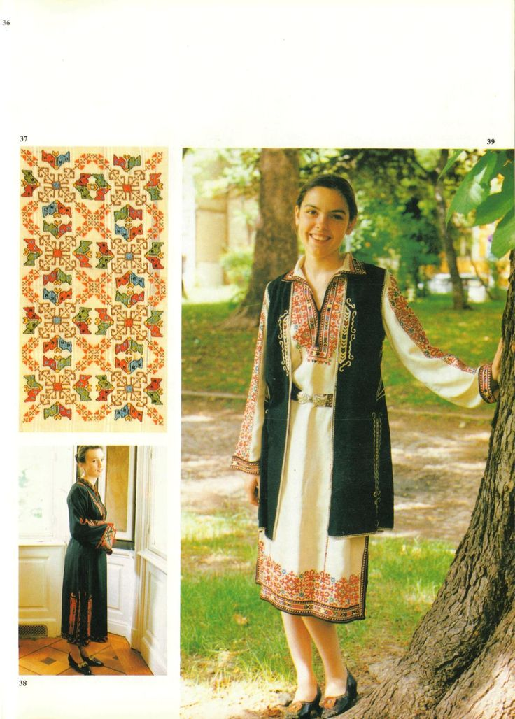 37- Pillow from Sofia region; 38- Modern variant of a dress from Kumanovo region; 39- Modern variant of a dress from Sofia region