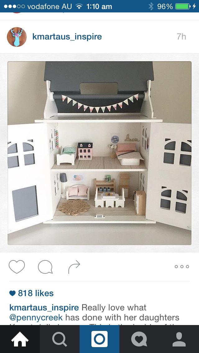 DIY Wooden Dollhouse - Kmart hack