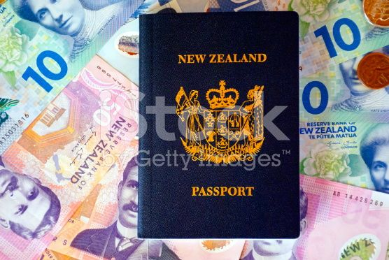 New Zealand Money (NZD) and Passport royalty-free stock photo