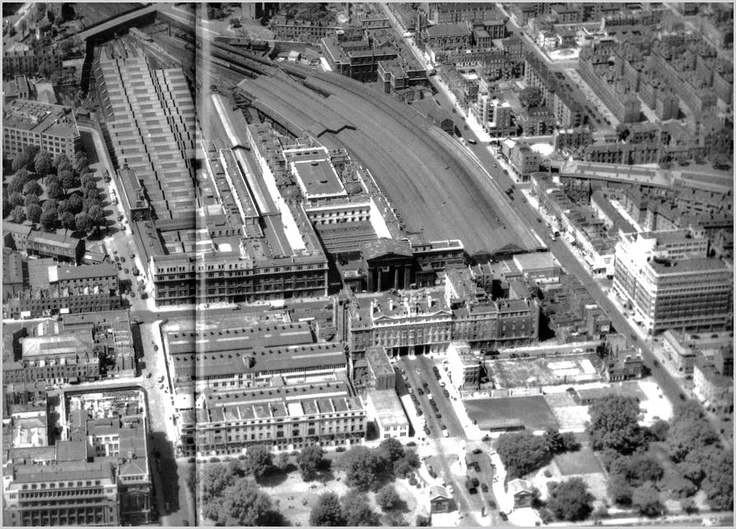 Euston Station prior to redevelopment. At the very front of the photo Euston Road can just be seen. The Arch was in Drummond Street, most of which is now beneath the platforms of the modern station. The road to the right of the station in this picture is Eversholt Street.