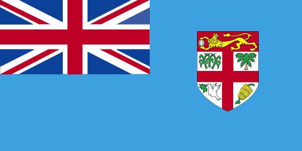 The current flag of Fiji was officially adopted on October 10, 1970.           The Union Jack (upper left), is representative of the country's long association with Great Britain. The flag's blue field is symbolic of the surrounding Pacific Ocean. The coat of arms display a golden British lion holding a cocoa pod, as well as panels displaying a palm tree, sugar cane, bananas and dove of peace.