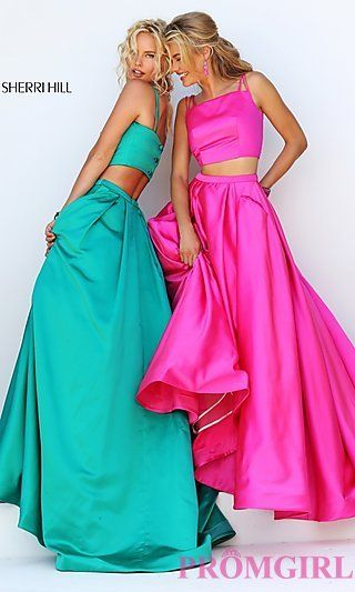 Two Piece Sherri Hill Dress with A-Line Skirt at PromGirl.com