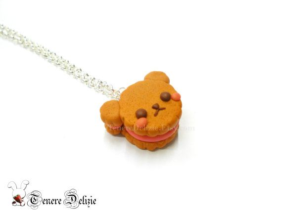Kawaii bear cookie necklace - kawaii animal necklace - polymer clay