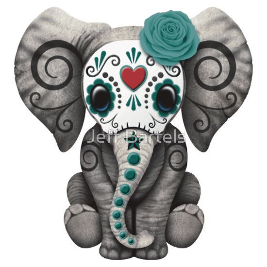 Teal Blue Day of the Dead Sugar Skull Baby Elephant | Jeff Bartels