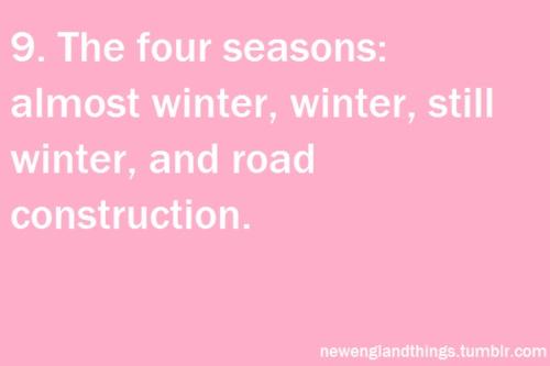 The 4 Season's in Boston, Almost Winter, Winter, Still Winter, Road Construction