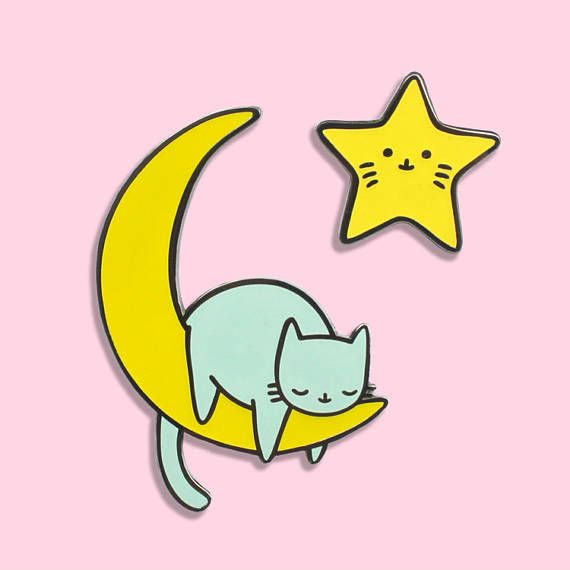 Glow in the dark kitties floating in space ♥  These come in a set, you will receive one star kitty and one moon kitty!  Measurements are (width x length) 1 x 1 inch or 2.2 x 2.2 cm for the star kitty and 1.5 x 2 inch or 3.5 x 5 cm for the moon kitty.  Comes on card backing.  PLEASE NOTE that Im located in the Netherlands so standard (no tracking) international shipping takes 2-5 weeks. Tracked items usually arrive a bit quicker. For more info check my FAQ. Shipment options can be found at…