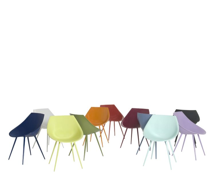 Lagò by Philippe Starck Easy chair. Stiff polyurethane shell and aluminum legs. Available in different lacquered versions: white, black, red, ultramarine blue, orange, green, acid green, light blue, blue, lilac, burgundy, greysh beige, dark beige, saffron and dark blue; with fixed leather cover, in white, black, red or olive green.