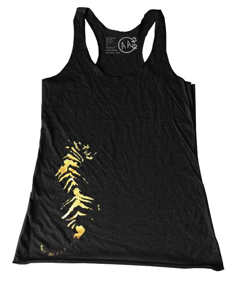 Tiger Women's Tank - Gold Foil Enriching the lives of wild animals in captivity. Tiger T-shirt / Animal Tee / Big Cat Tee/ Tiger Tee / T shirt by Animals Anonymous Workout Tank / Conservation / Zoo / Wild Tee