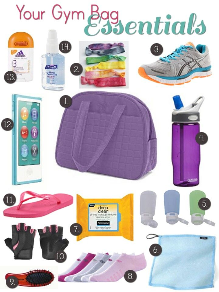 Exercise Bag Essentials! 1. A big bag to put everything in. 2. Hairties. 3. Running shoes. 4. Waterbottle. 5. Shampoo, conditioner, and soap to shower afterward. 6. Towel. 7. Makeup remover. 8. Exercise socks. 9. Brush. 10. Gloves for lifting weights and things like that. 11. Flip flops (if you plan on swimming). 12. IPod and headphones. 13. Deodarant. 14. Hand sanitizer.