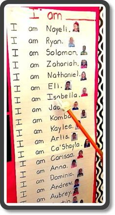 Predictable chart for names with student pictures ~ PERFECT for the first weeks of kindergarten!