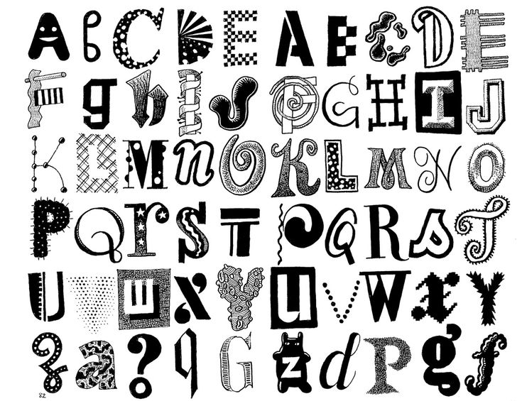 Alphabet In Many Fonts/styles