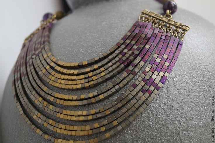 Купить Исида Колье и браслет - фиолетовый, фиолетово-золотой, египет, древний египет, богиня, исида
