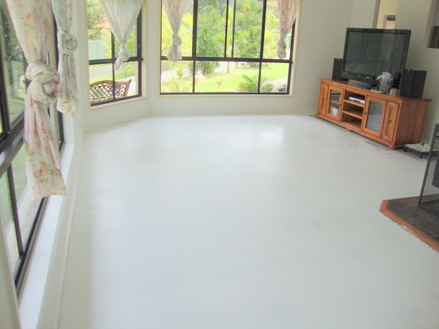 Paint me white painted concrete floors home pinterest for Steam mop concrete floors