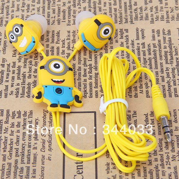 Free dropshipping Stylish Despicable Me The Minion Pattern General 3.5mm In-ear Earphone for Various Mobile Phones $3.58