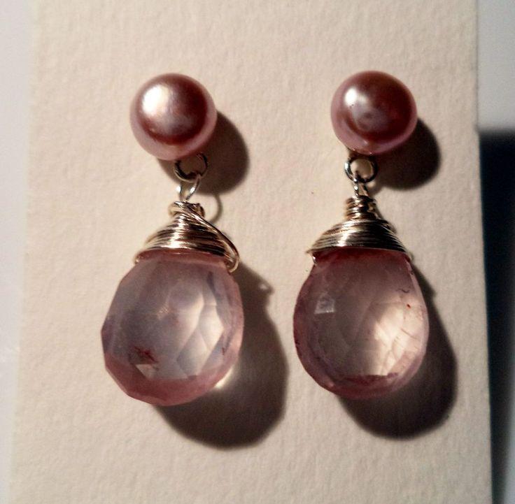 Ohrstecker Silber 925 Sterlingsilber Zuchtperlen Rosenquarz rosa f45