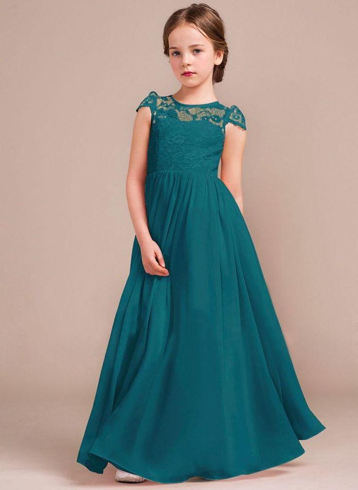 Poppy Teal Green Girls Bridesmaid Dresses Kids