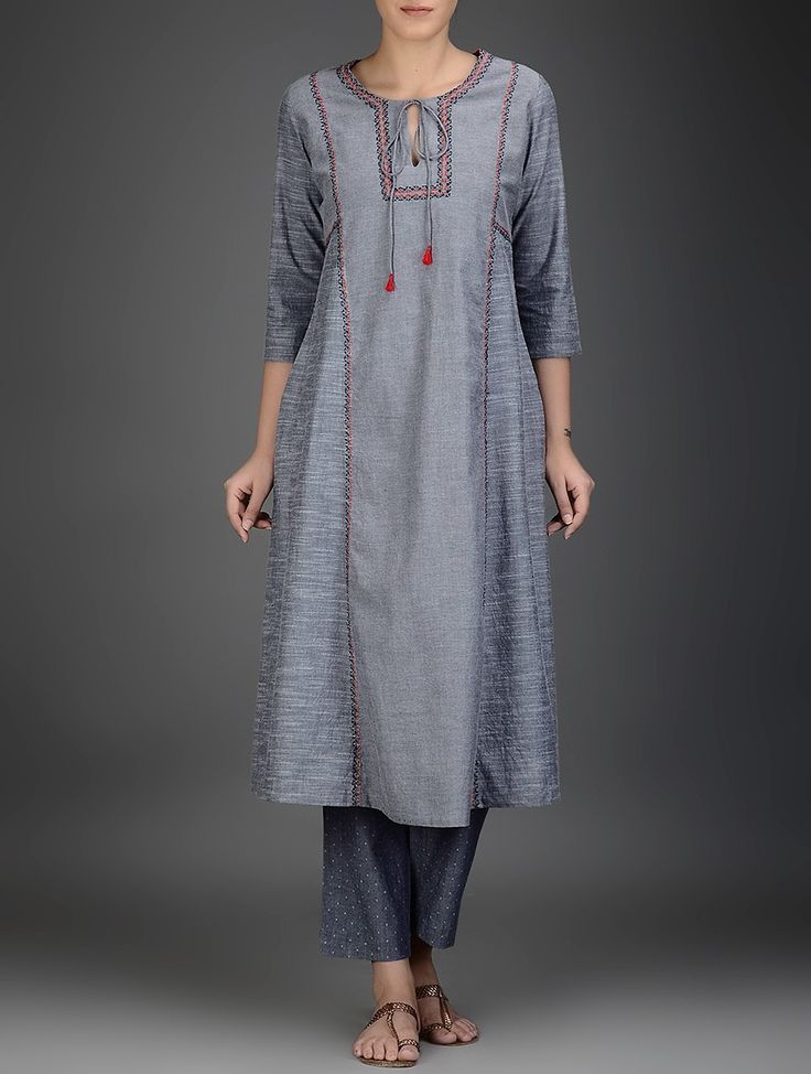 Buy Grey Red Embroidered Cotton Chambray Kurta Voile Women Kurtas Online at Jaypore.com